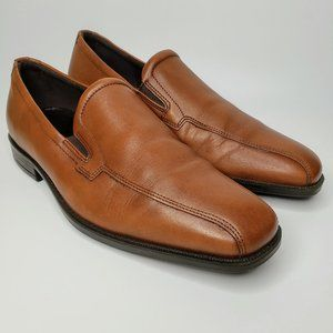 Ecco Brown Square Front Slip On Leather Loafers 43